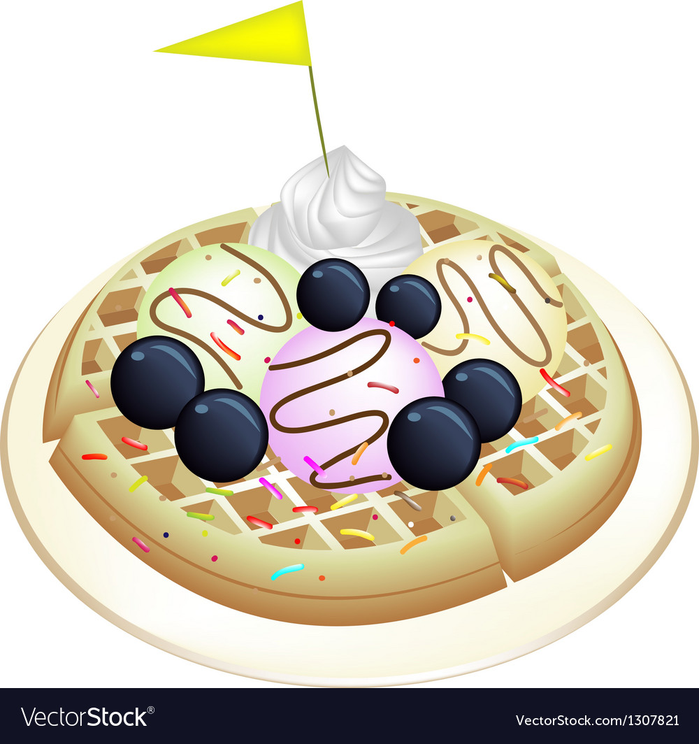 Tradition waffle with blueberries and ice cream vector | Price: 1 Credit (USD $1)