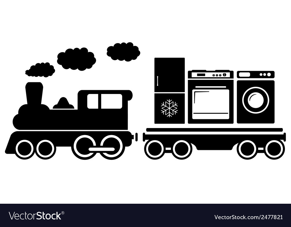 Train with home appliances icon vector | Price: 1 Credit (USD $1)
