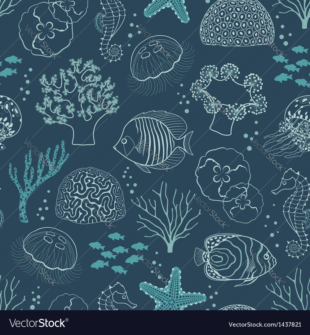 Underwater life pattern vector | Price: 1 Credit (USD $1)