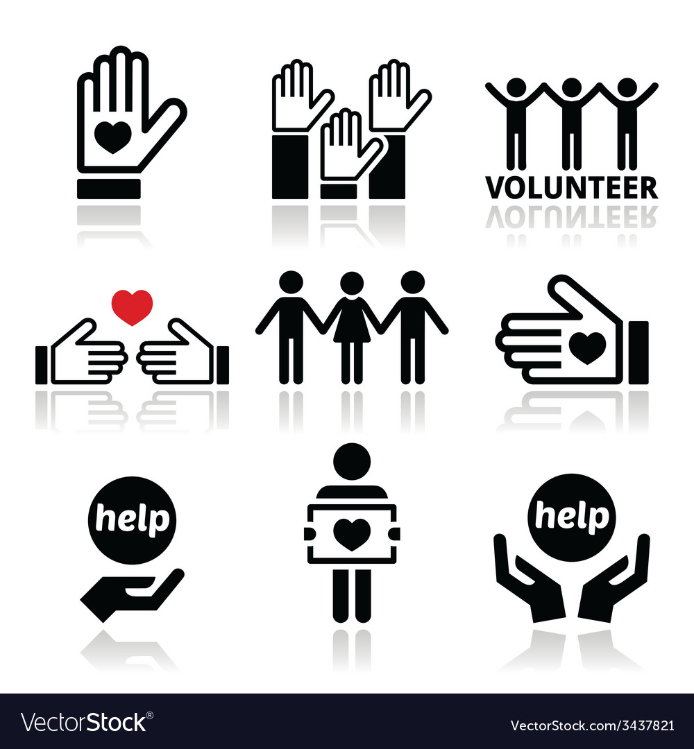 Volunteer people helping or giving concept icons vector | Price: 1 Credit (USD $1)