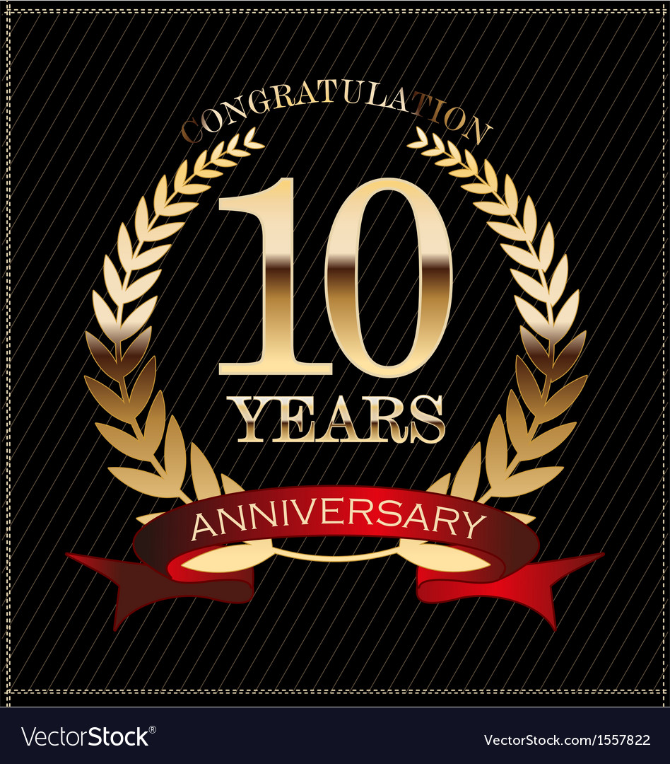 10 years anniversary golden laurel wreath vector | Price: 1 Credit (USD $1)