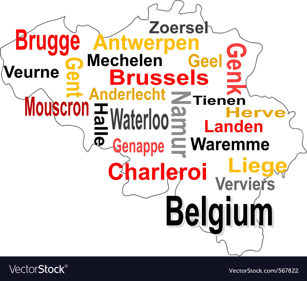 Belgium map vector | Price: 1 Credit (USD $1)