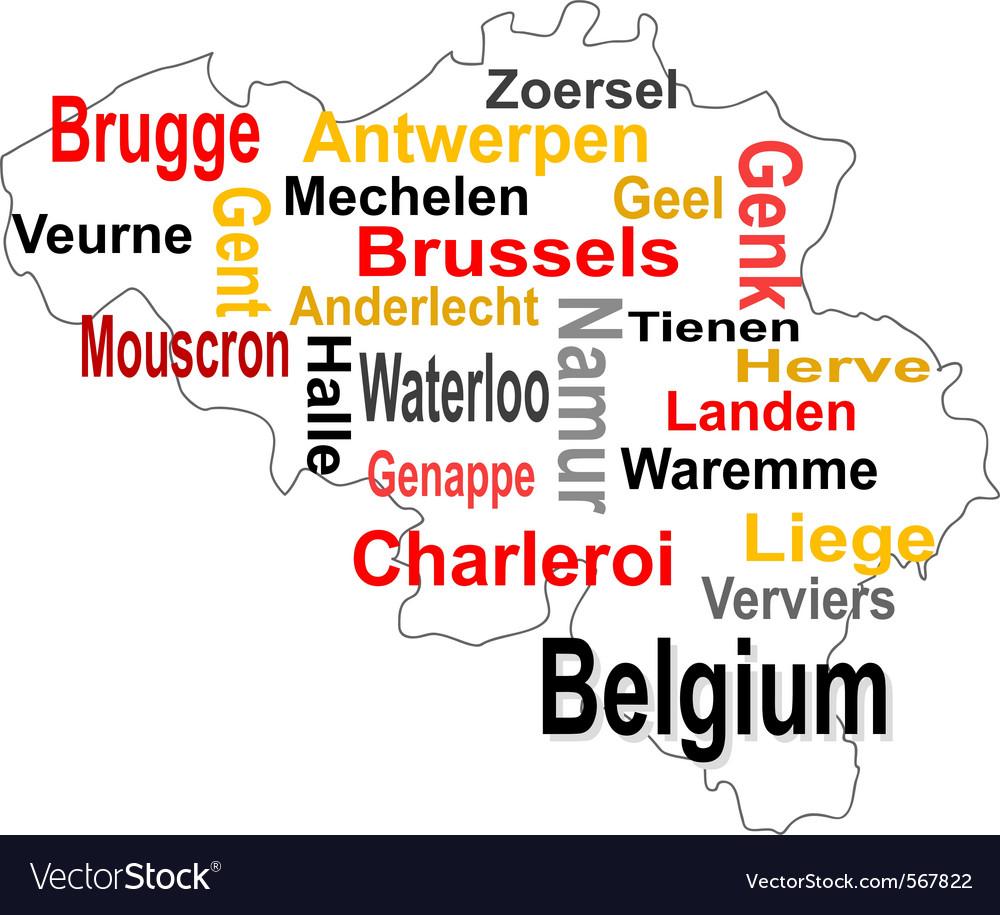 Belgium map vector | Price: 1 Credit (USD $1)