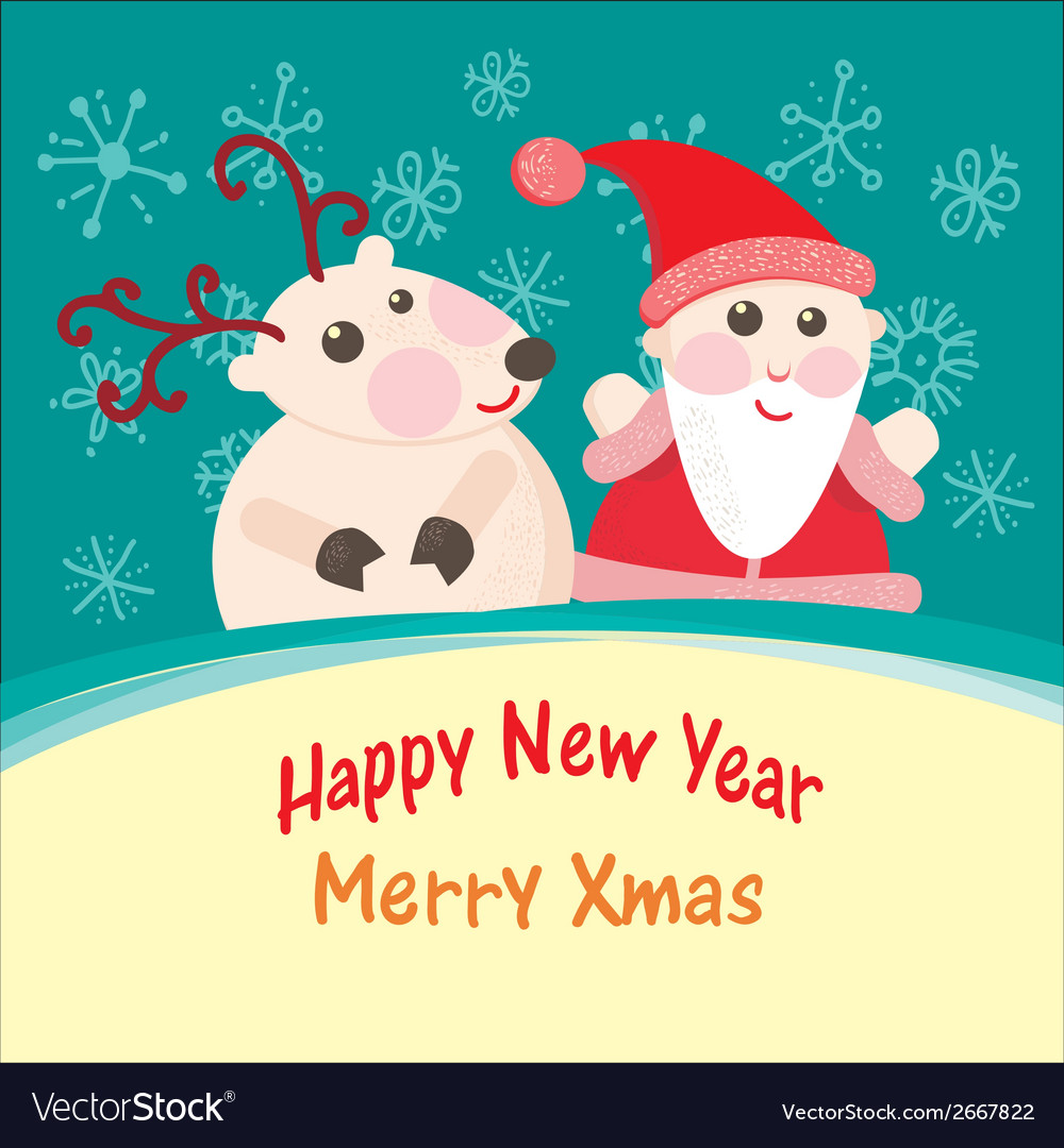 Christmas and new year greeting card santa claus vector | Price: 1 Credit (USD $1)