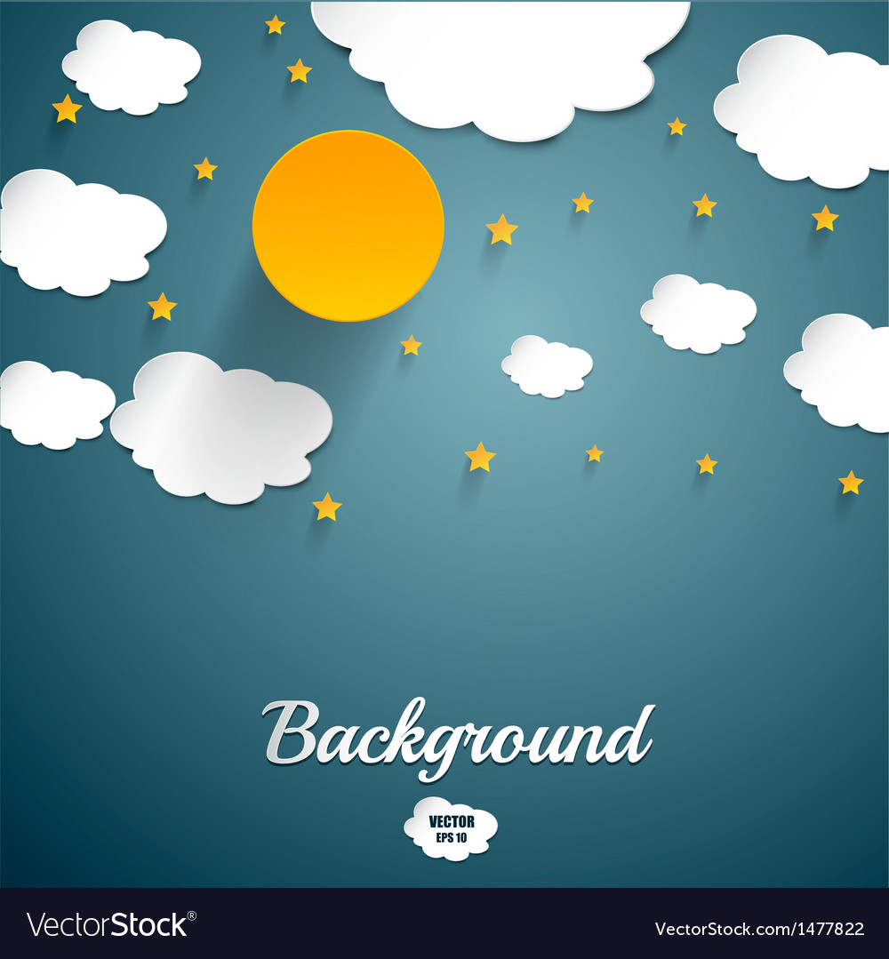Cut paper moon and clouds vector | Price: 1 Credit (USD $1)
