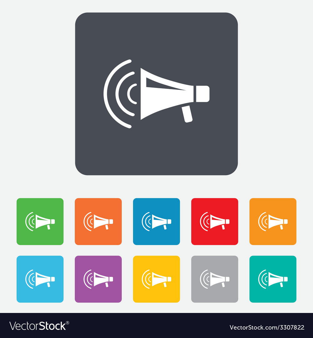 Megaphone sign icon loudspeaker strike symbol vector | Price: 1 Credit (USD $1)