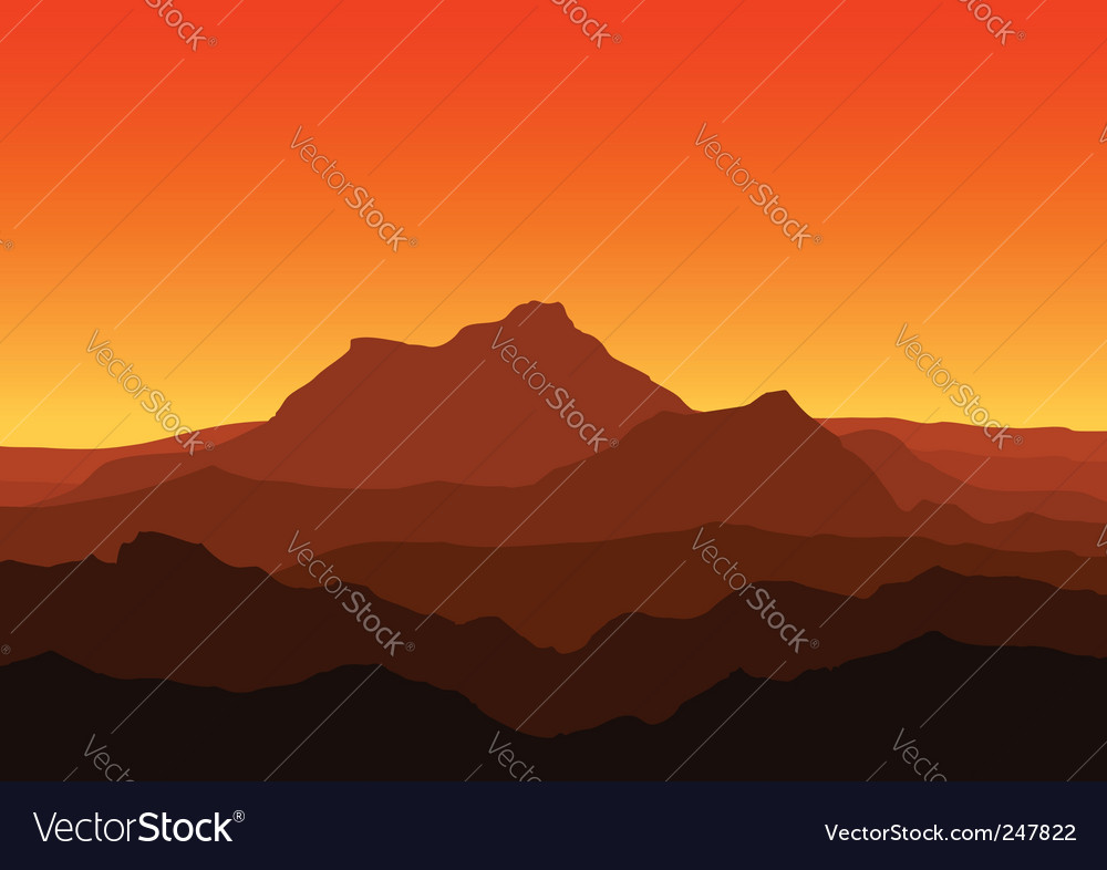 Mountains at dusk vector | Price: 1 Credit (USD $1)