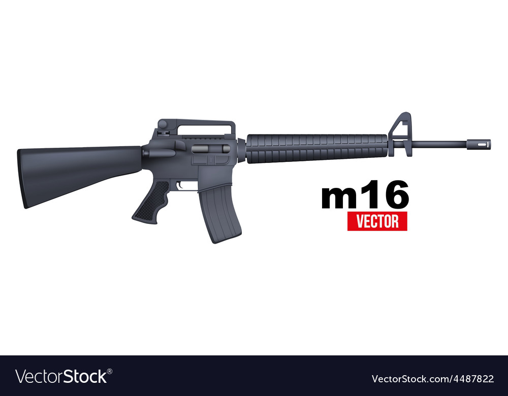 Realistic m16 rifle isolated on a white vector | Price: 1 Credit (USD $1)