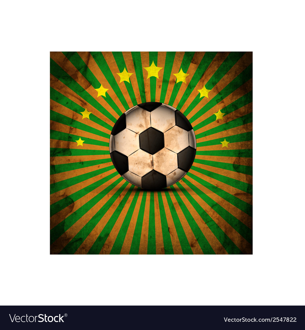 Retro football card in brazil flag colors soccer b vector | Price: 1 Credit (USD $1)