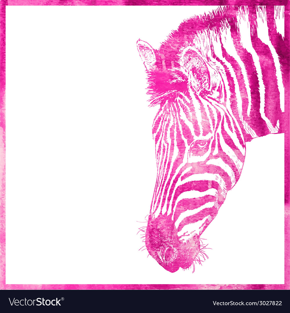 Watercolor animal background in pink color head of vector