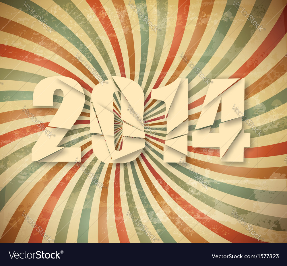2014 happy new year retro background vector | Price: 1 Credit (USD $1)