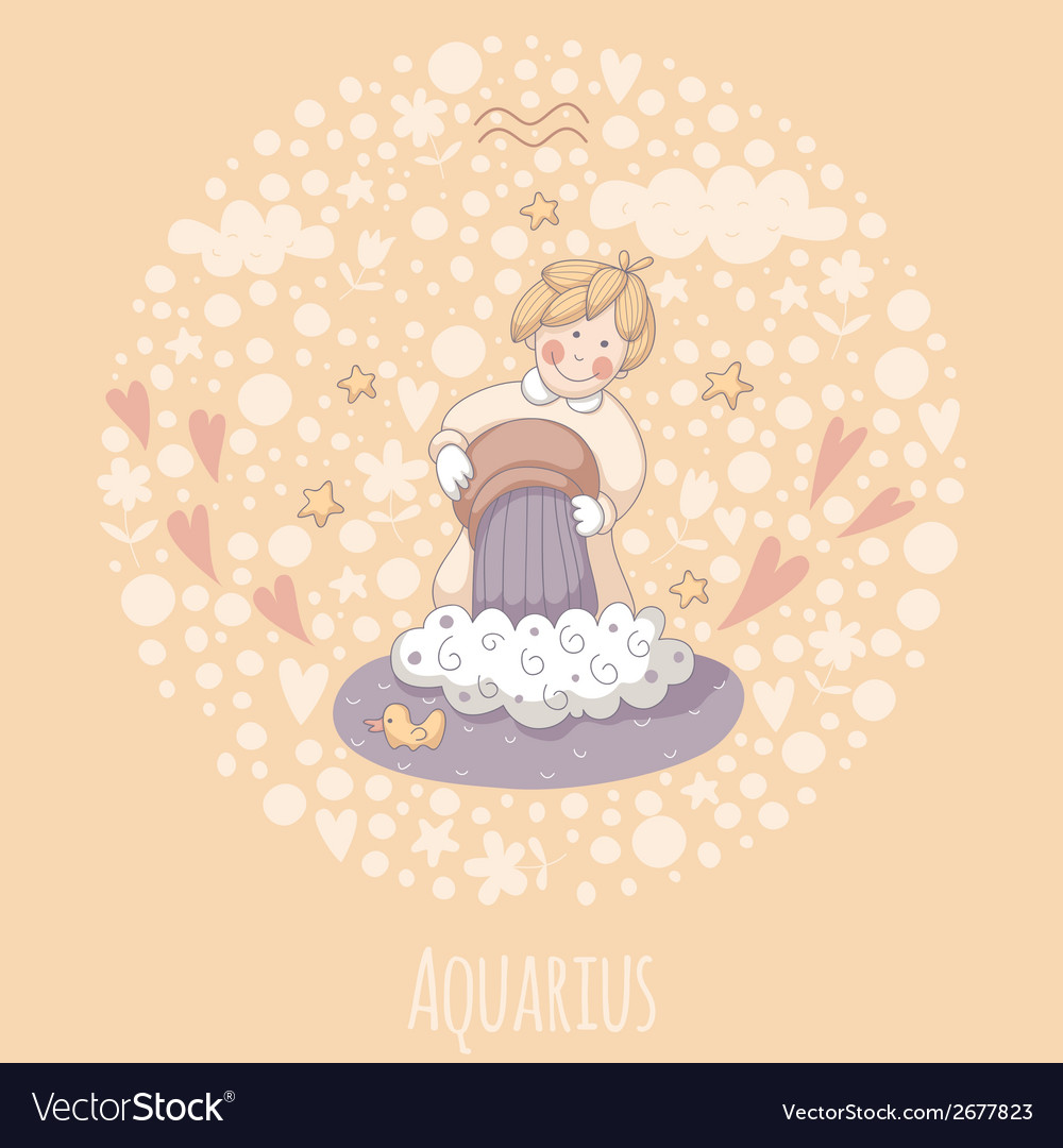 Cartoon of the water-bearer aquarius vector | Price: 1 Credit (USD $1)