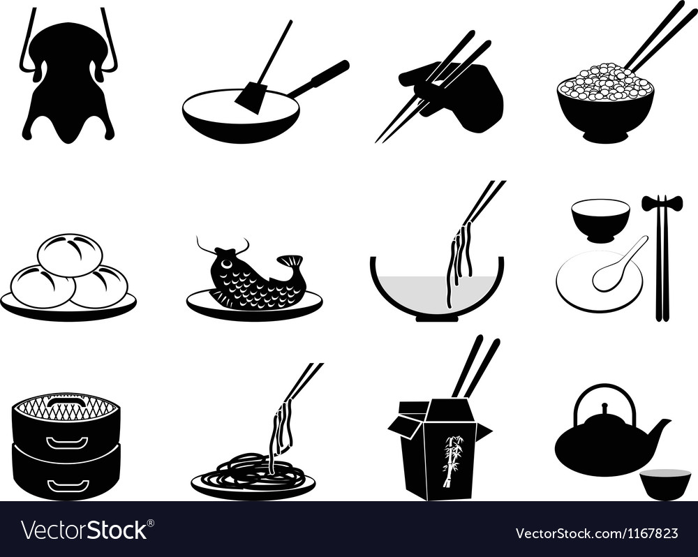 Chinese food icons vector | Price: 1 Credit (USD $1)