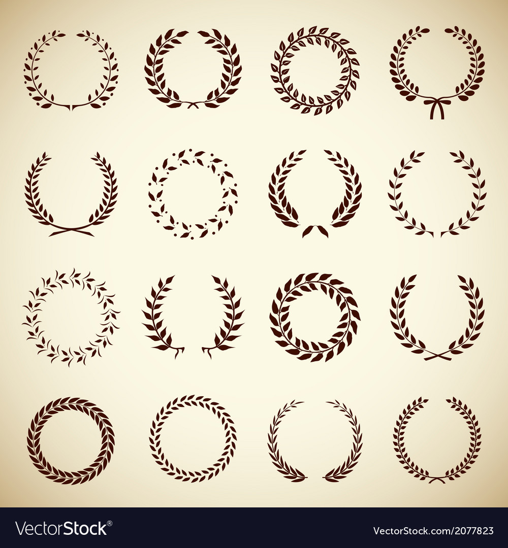 Collection of vintage laurel wreaths vector | Price: 1 Credit (USD $1)
