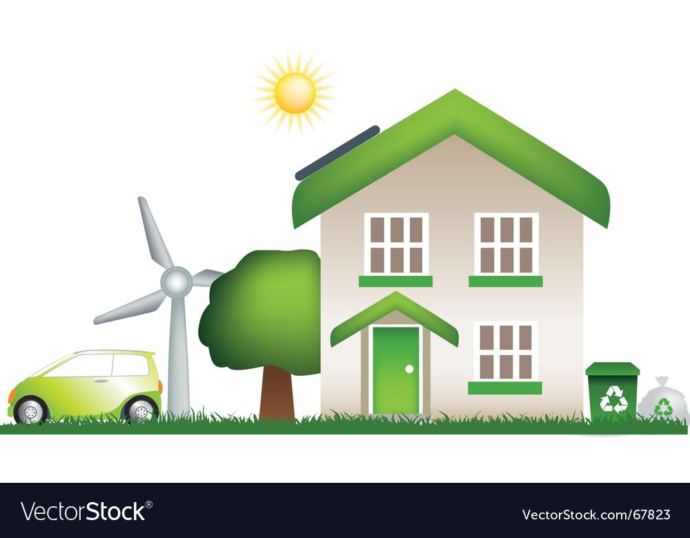 Eco house vector | Price: 1 Credit (USD $1)