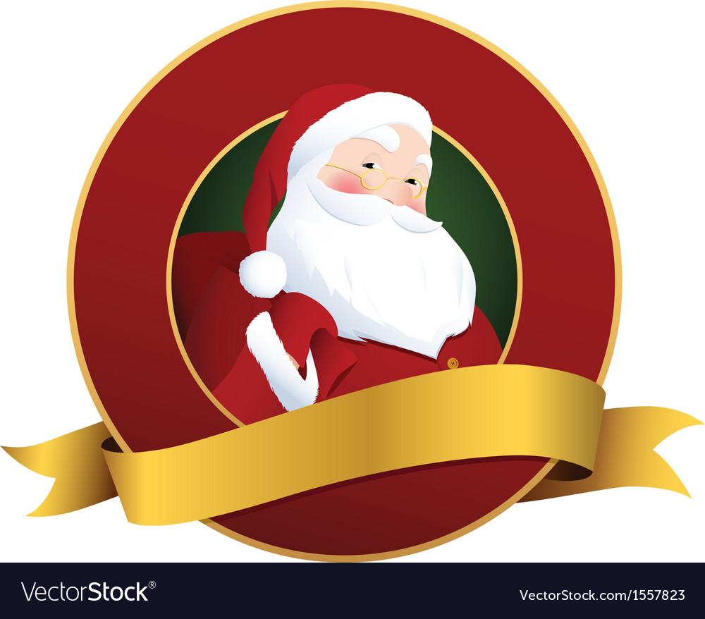 Festive christmas label with smiling santa claus vector | Price: 1 Credit (USD $1)