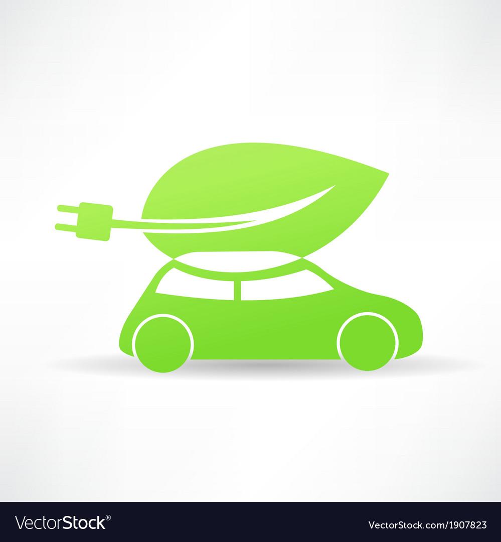 Green eco car icon vector | Price: 1 Credit (USD $1)