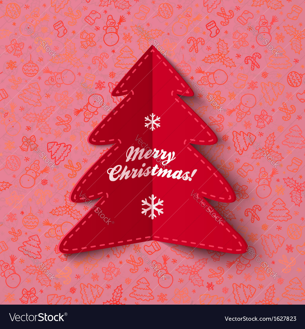 Green paper christmas tree greeting card with sign vector | Price: 1 Credit (USD $1)