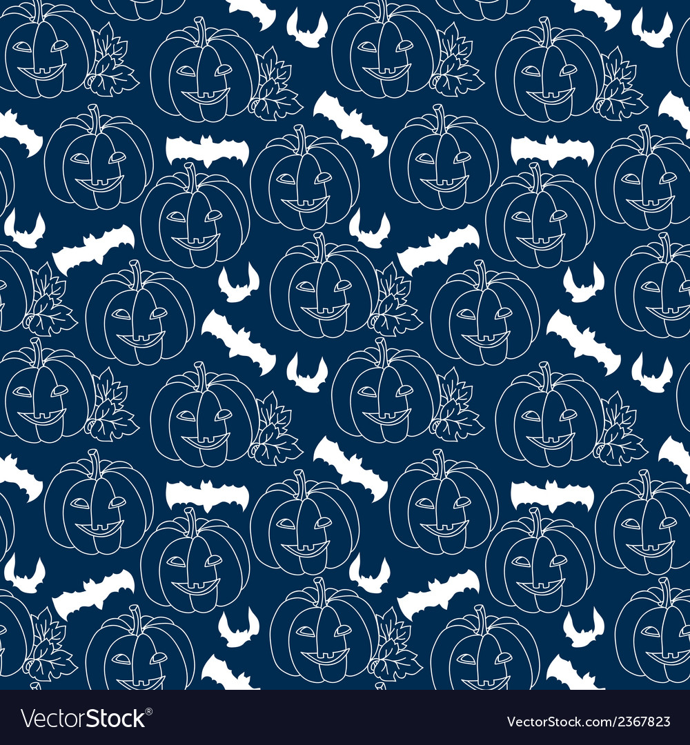 Halloween blue seamless pattern with pumpkins vector | Price: 1 Credit (USD $1)
