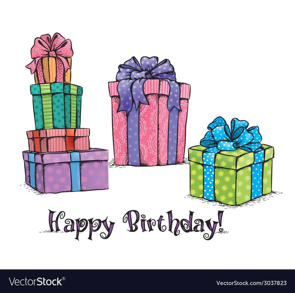 Happy birthday gifts vector | Price: 1 Credit (USD $1)