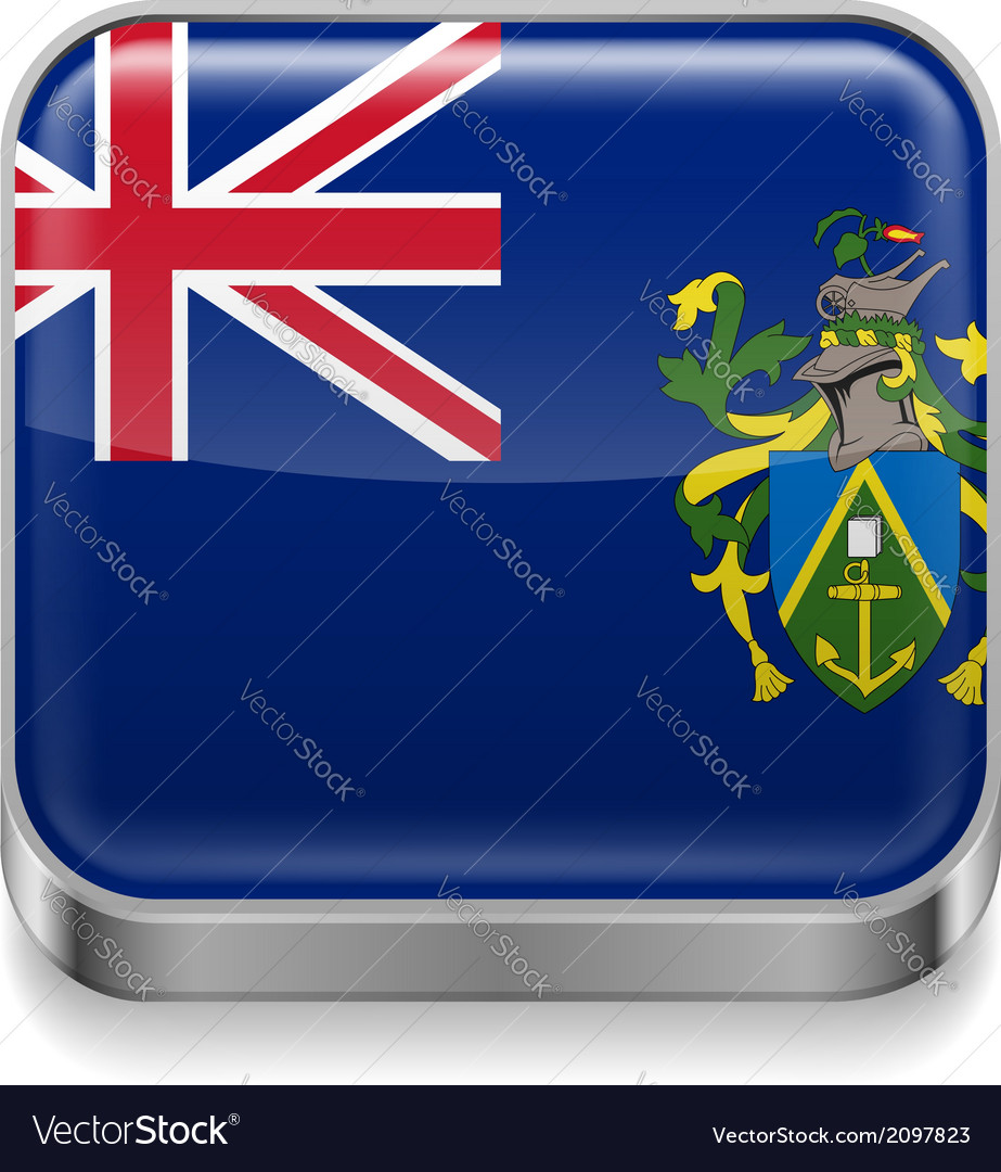 Metal icon of pitcairn islands vector | Price: 1 Credit (USD $1)