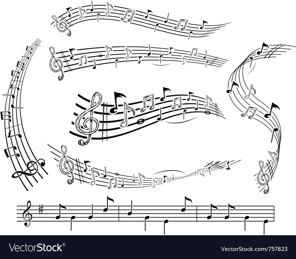 Music notes on score vector | Price: 1 Credit (USD $1)