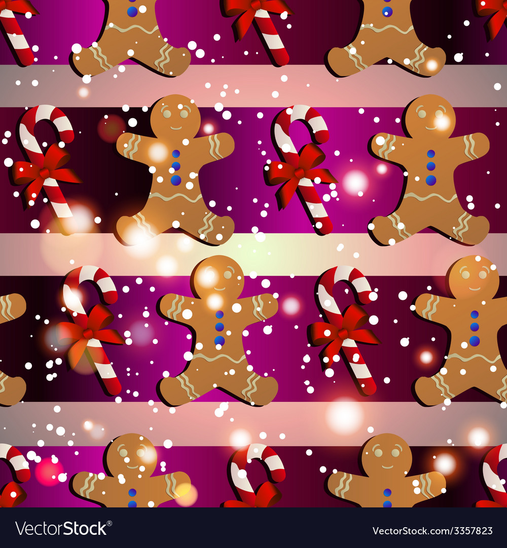 New year pattern with the gingerbread man and vector | Price: 1 Credit (USD $1)