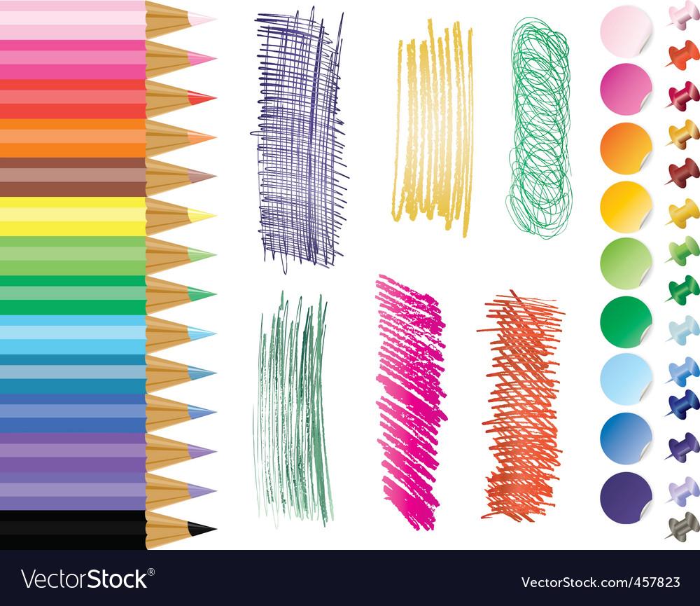 Pencils tacks stikers vector | Price: 1 Credit (USD $1)