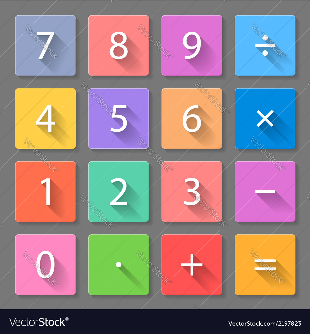 Set of calculator flat icons vector   Price: 1 Credit (USD $1)