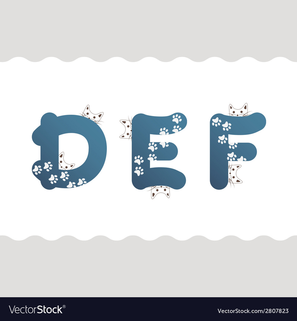 Set of cat letters vector | Price: 1 Credit (USD $1)