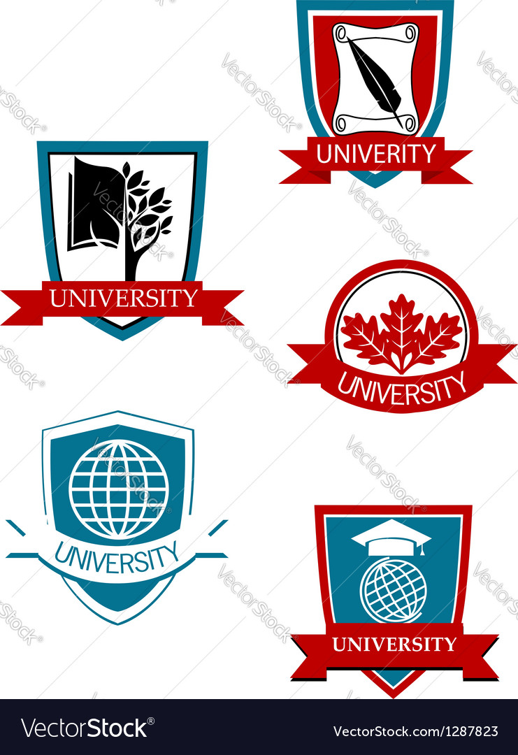 Set of university and college symbols vector | Price: 1 Credit (USD $1)