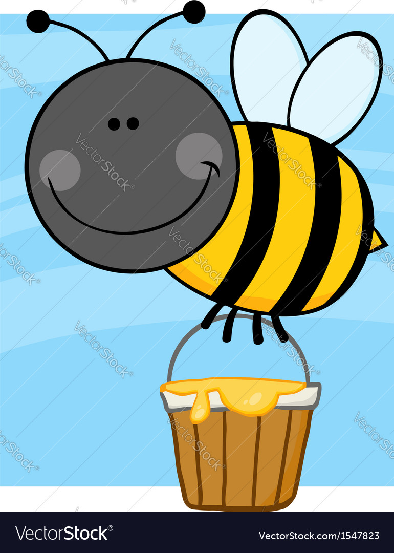 Summer bumble bee collecting honey vector | Price: 1 Credit (USD $1)