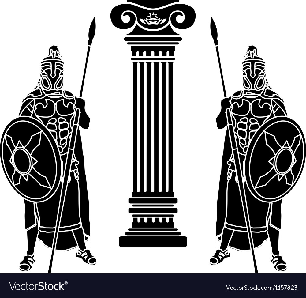 Two hoplits and column stencil vector | Price: 1 Credit (USD $1)