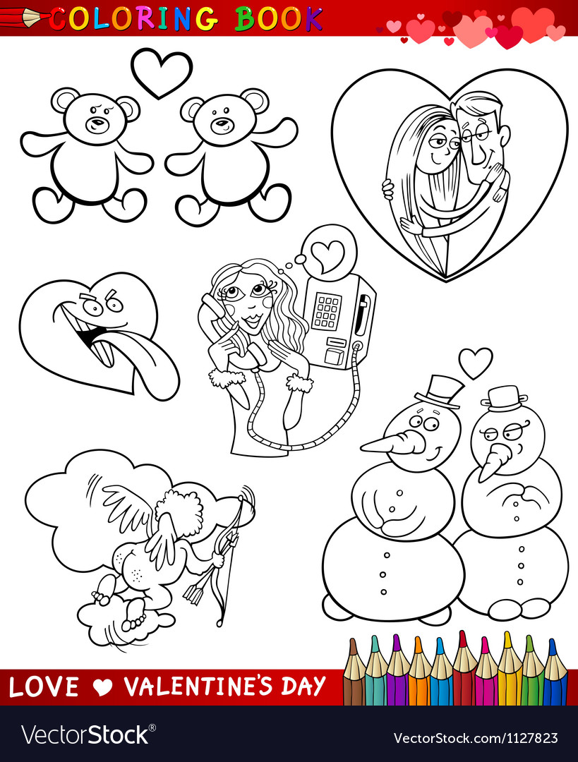 Valentine cartoon themes for coloring vector | Price: 1 Credit (USD $1)