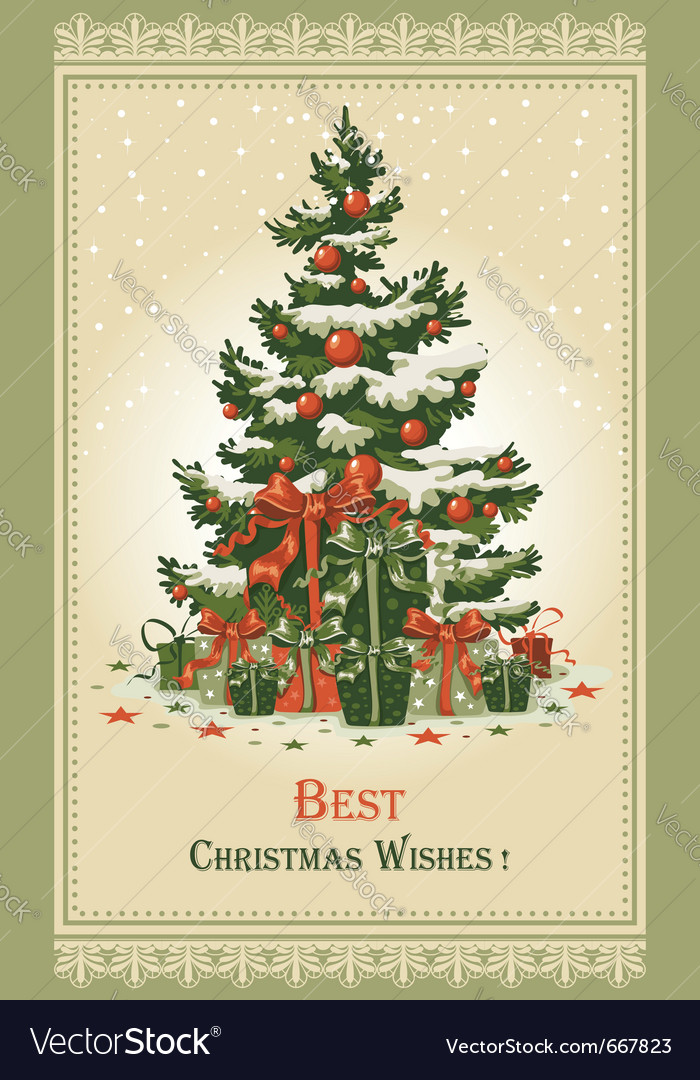 Vintage christmas card vector | Price: 3 Credit (USD $3)