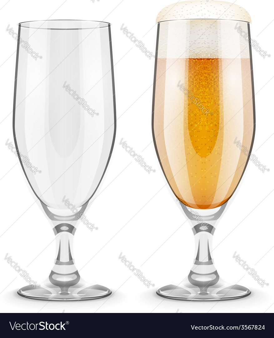 Beer with foam in glass vector | Price: 1 Credit (USD $1)
