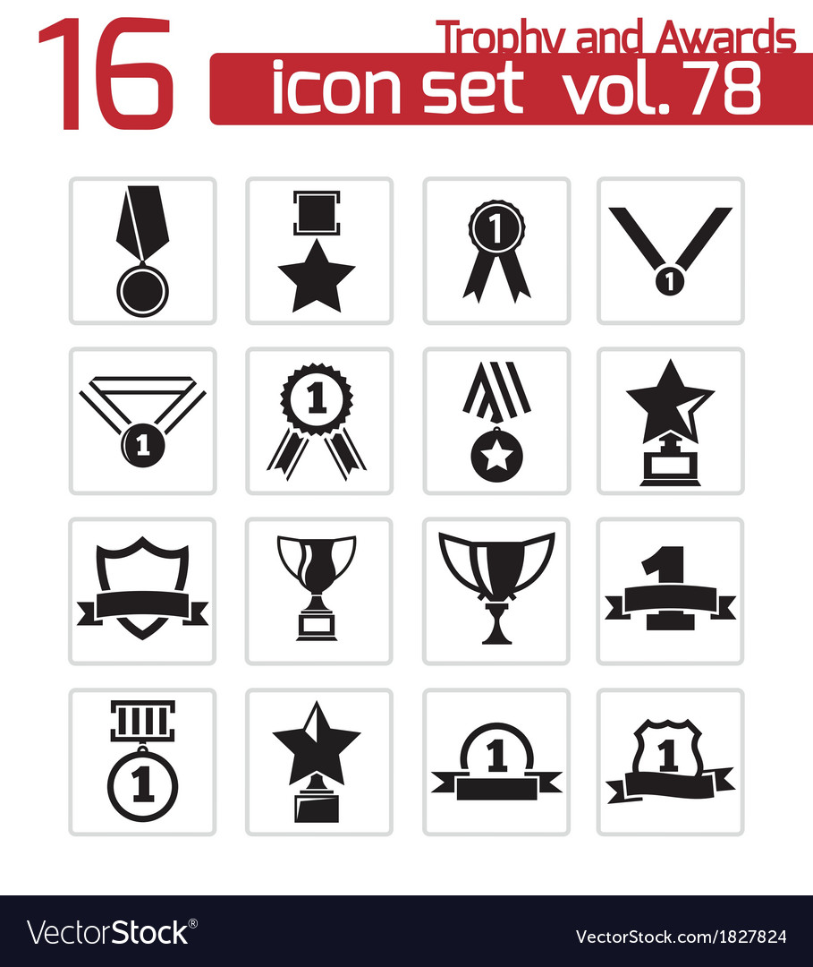 Black trophy and awards icons set vector   Price: 1 Credit (USD $1)