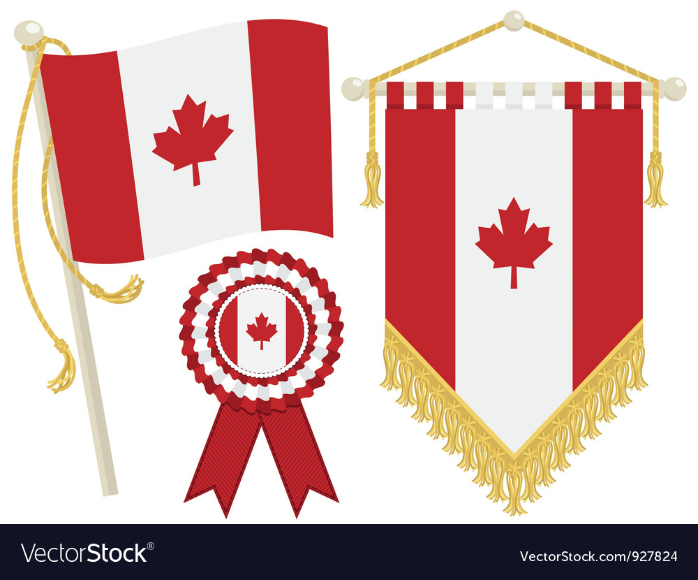 Canada flags vector | Price: 1 Credit (USD $1)