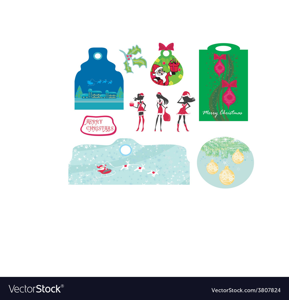 Christmas design elements with santa claus - set vector | Price: 1 Credit (USD $1)