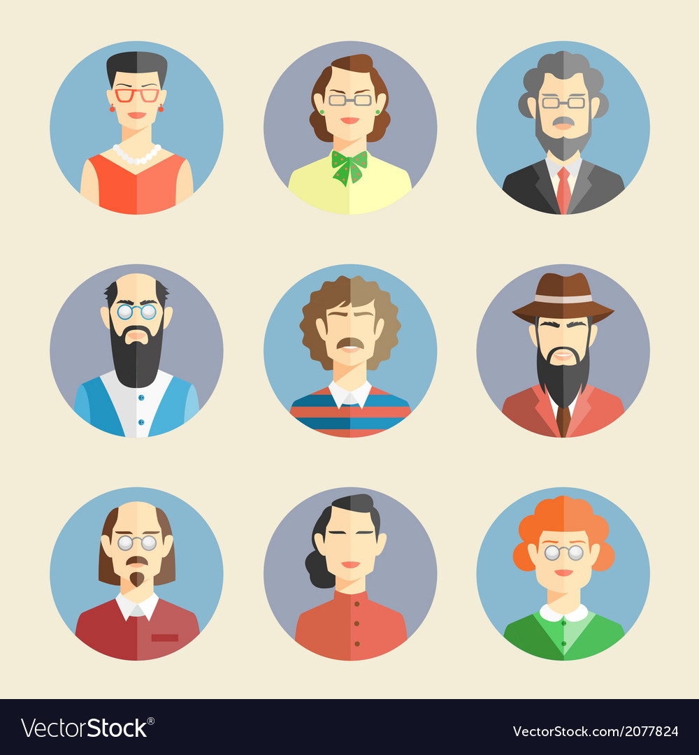 Collection of faces icons vector | Price: 1 Credit (USD $1)