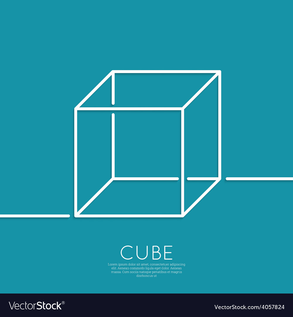 Cube on a blue background vector | Price: 1 Credit (USD $1)