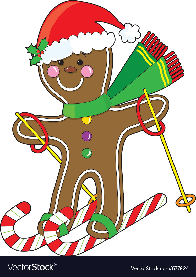 Gingerbread skier vector | Price: 1 Credit (USD $1)
