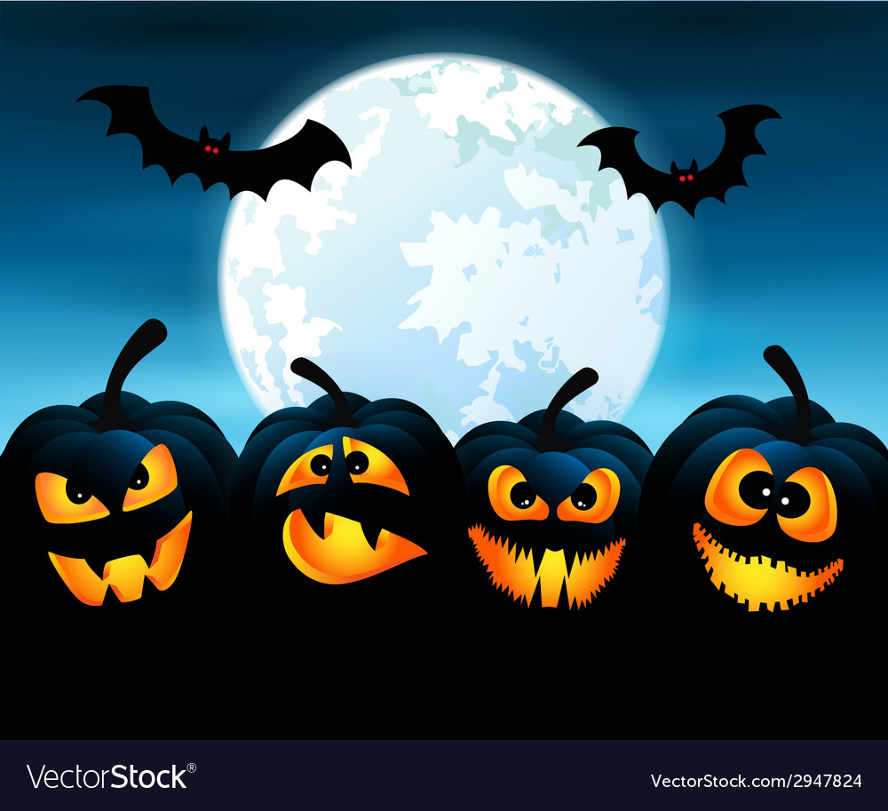 Halloween night with pumpkins vector | Price: 1 Credit (USD $1)