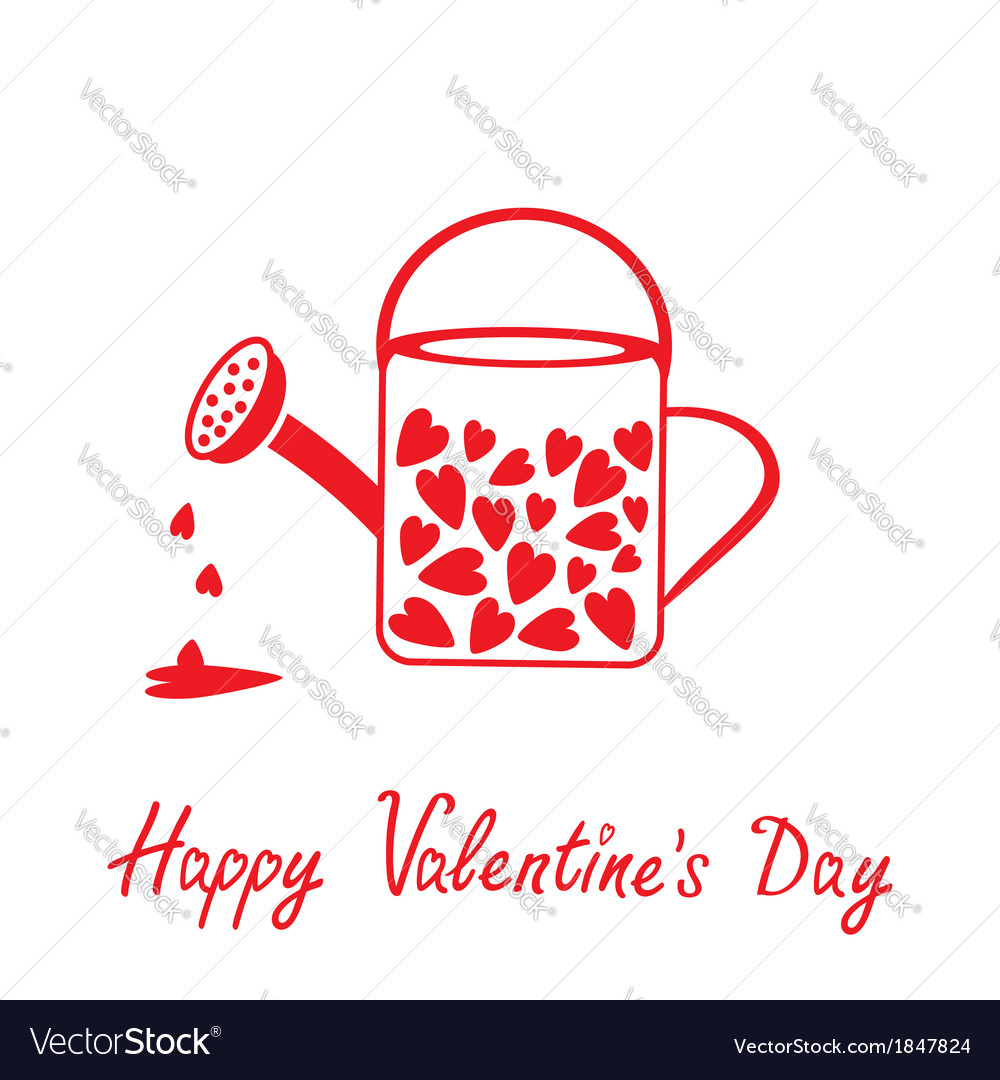 Love watering can with hearts valentines day card vector | Price: 1 Credit (USD $1)