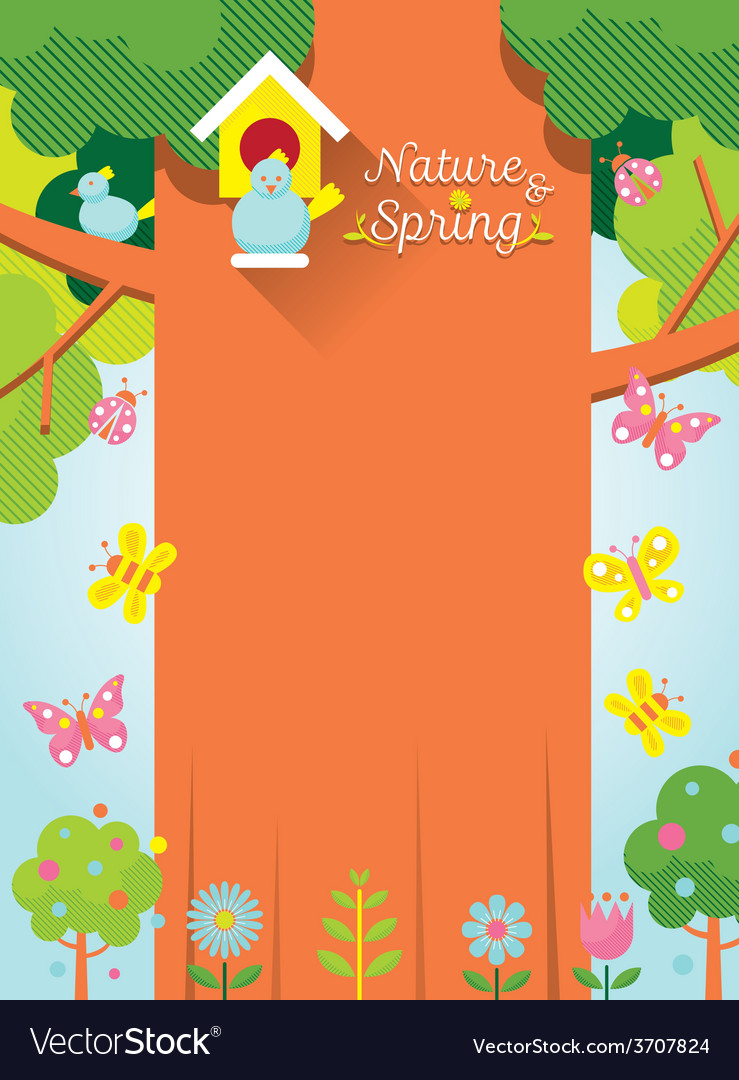 Spring season background with bird and big tree vector | Price: 1 Credit (USD $1)