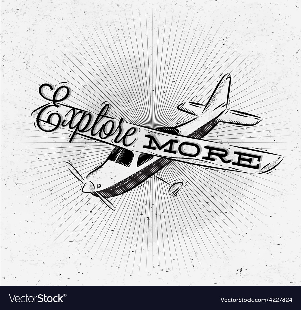 Tourist poster plane vector | Price: 1 Credit (USD $1)