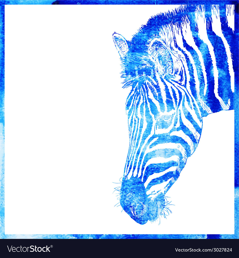 Watercolor animal background in a blue color head vector | Price: 1 Credit (USD $1)