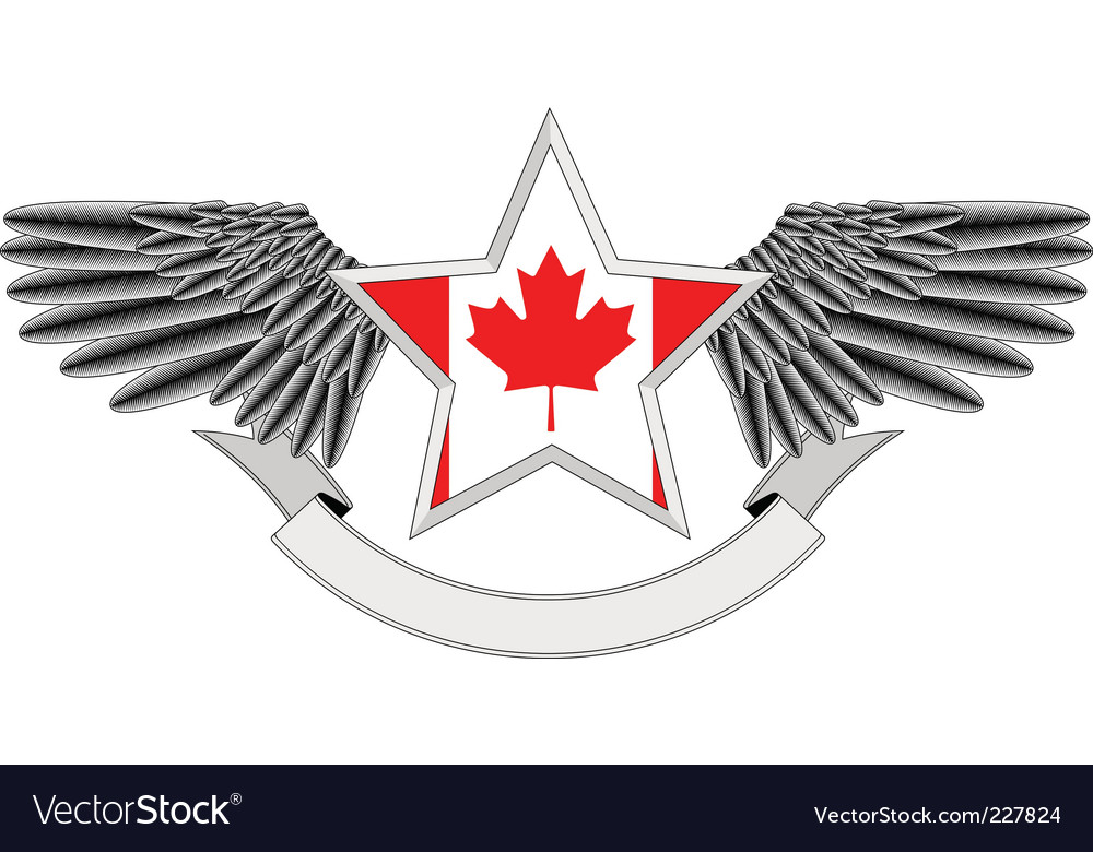 Winged star with canadian flag vector | Price: 1 Credit (USD $1)