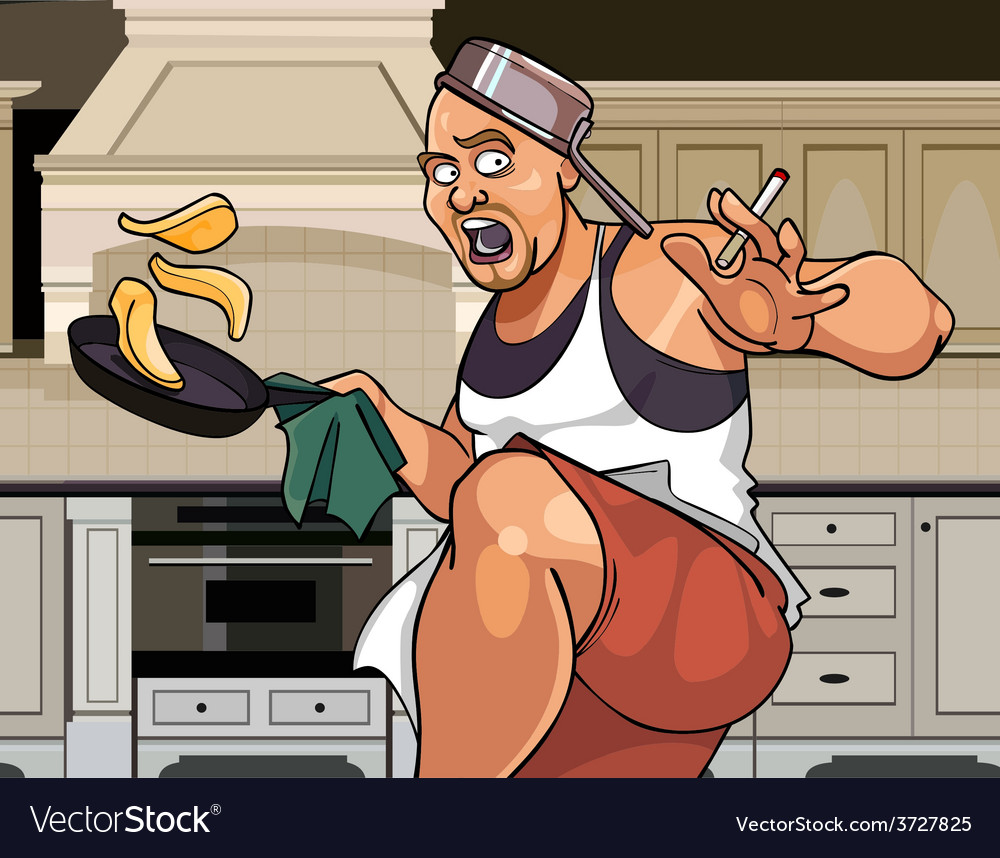 Cartoon funny man cook actively fries pancakes vector | Price: 3 Credit (USD $3)