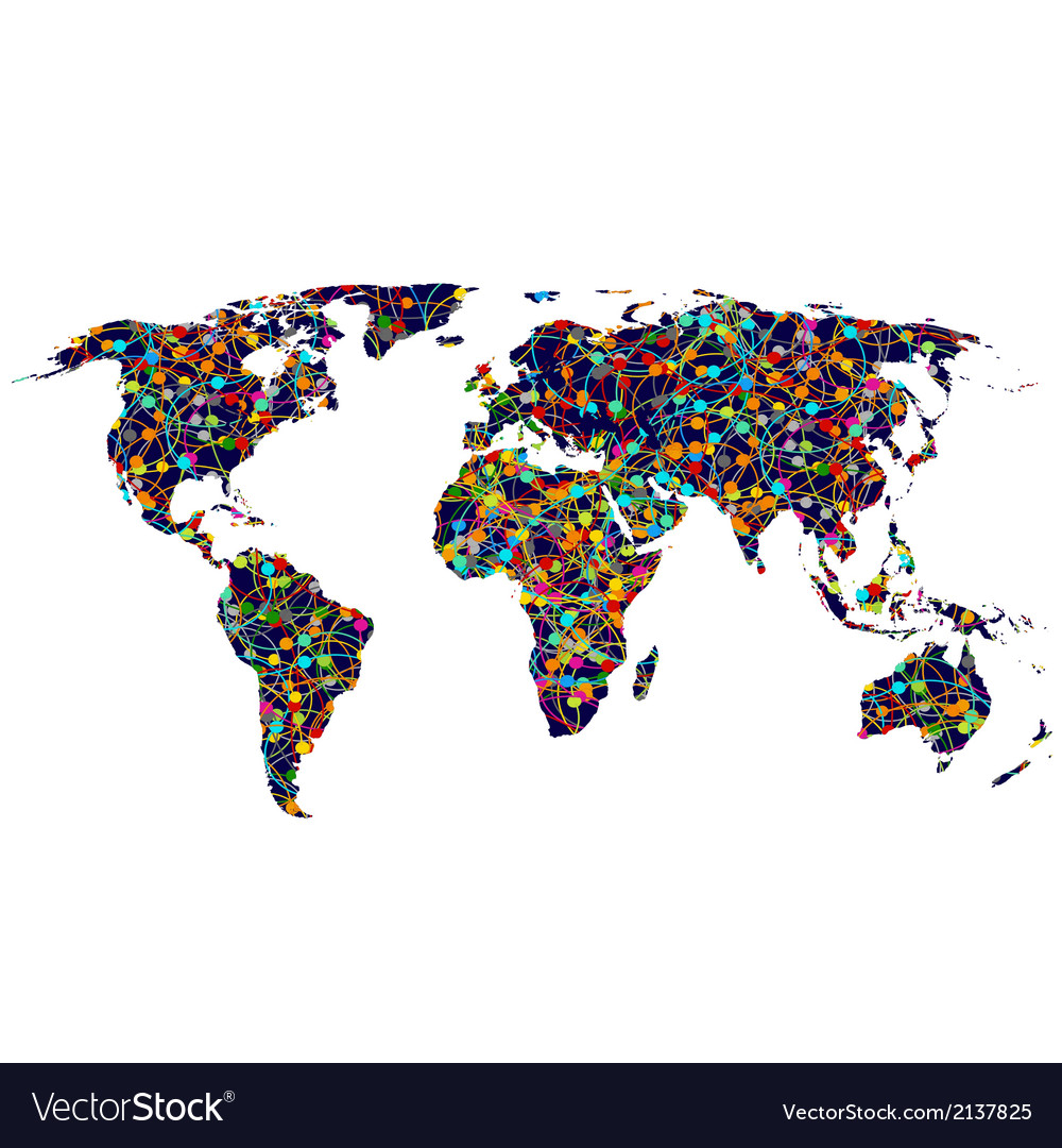 Colored network world map vector | Price: 1 Credit (USD $1)